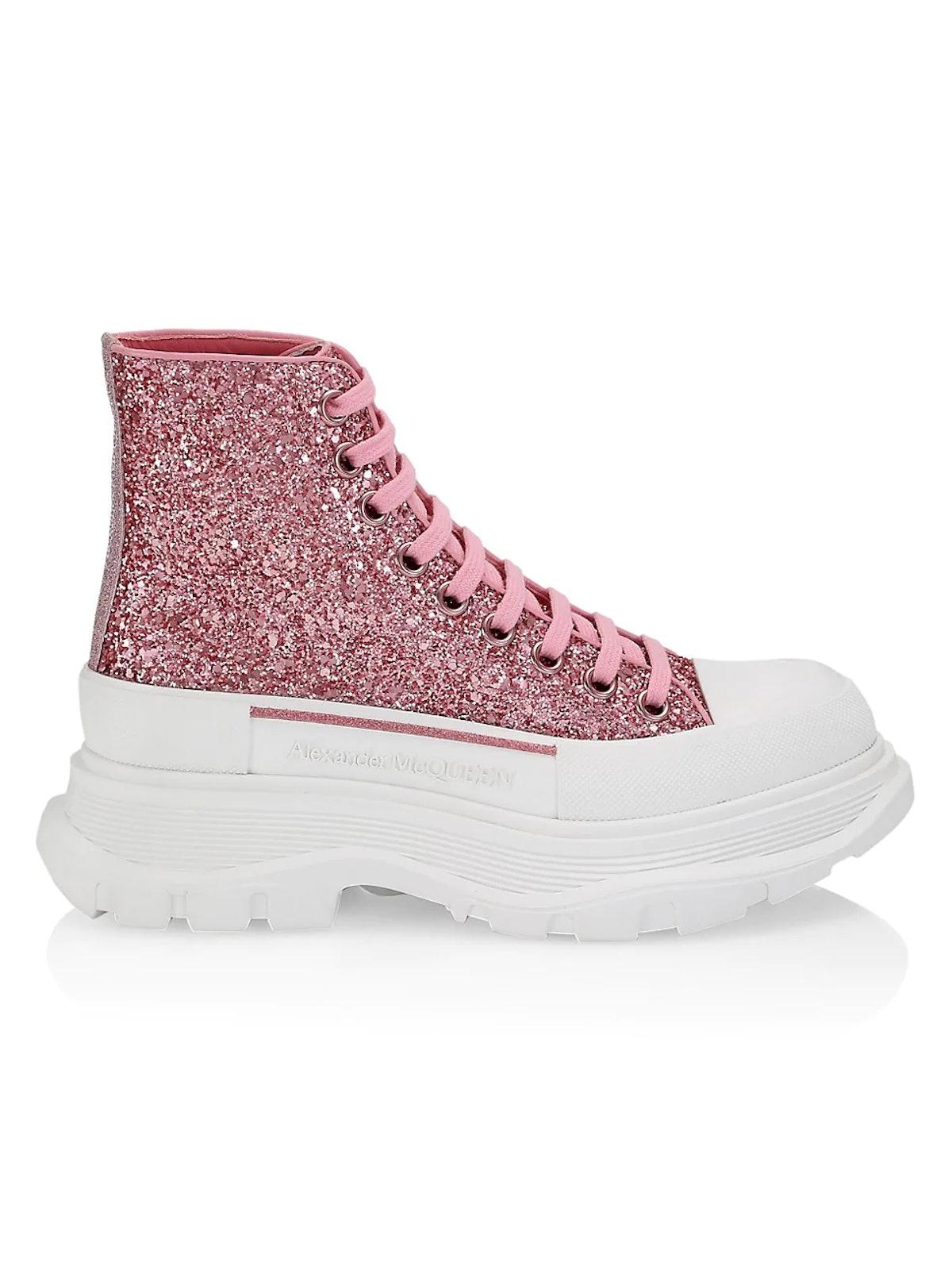 ALEXANDER MCQUEEN Tread Slick Glitter High-Top Fashion Sneakers