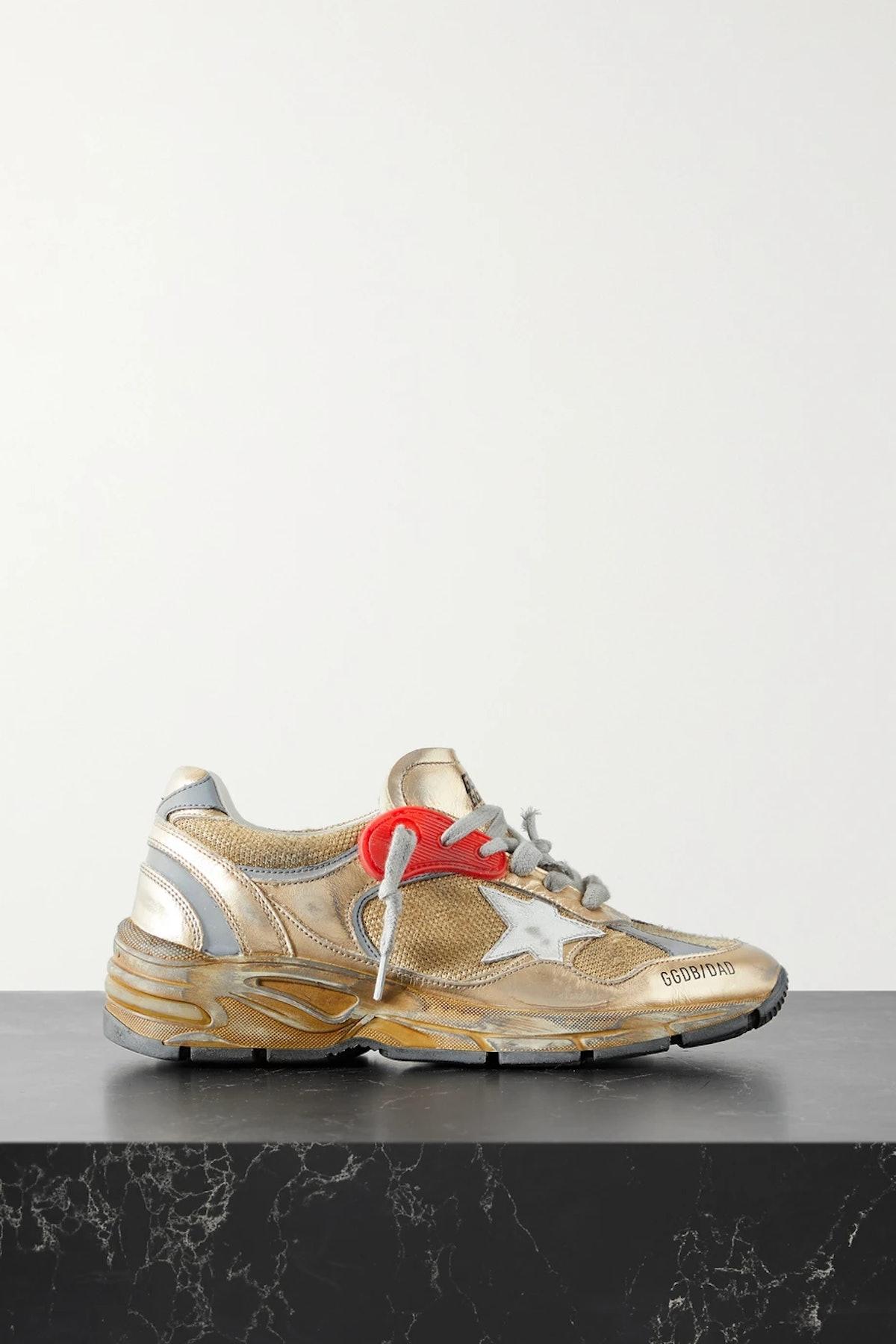 Golden Goose Dad-Star Distressed Metallic Sneaker