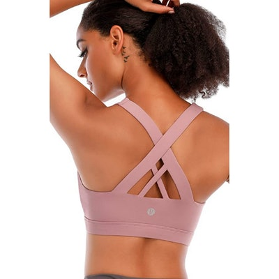 RUNNING GIRL Criss-Cross Back Padded Sports Bra with Removable Cups