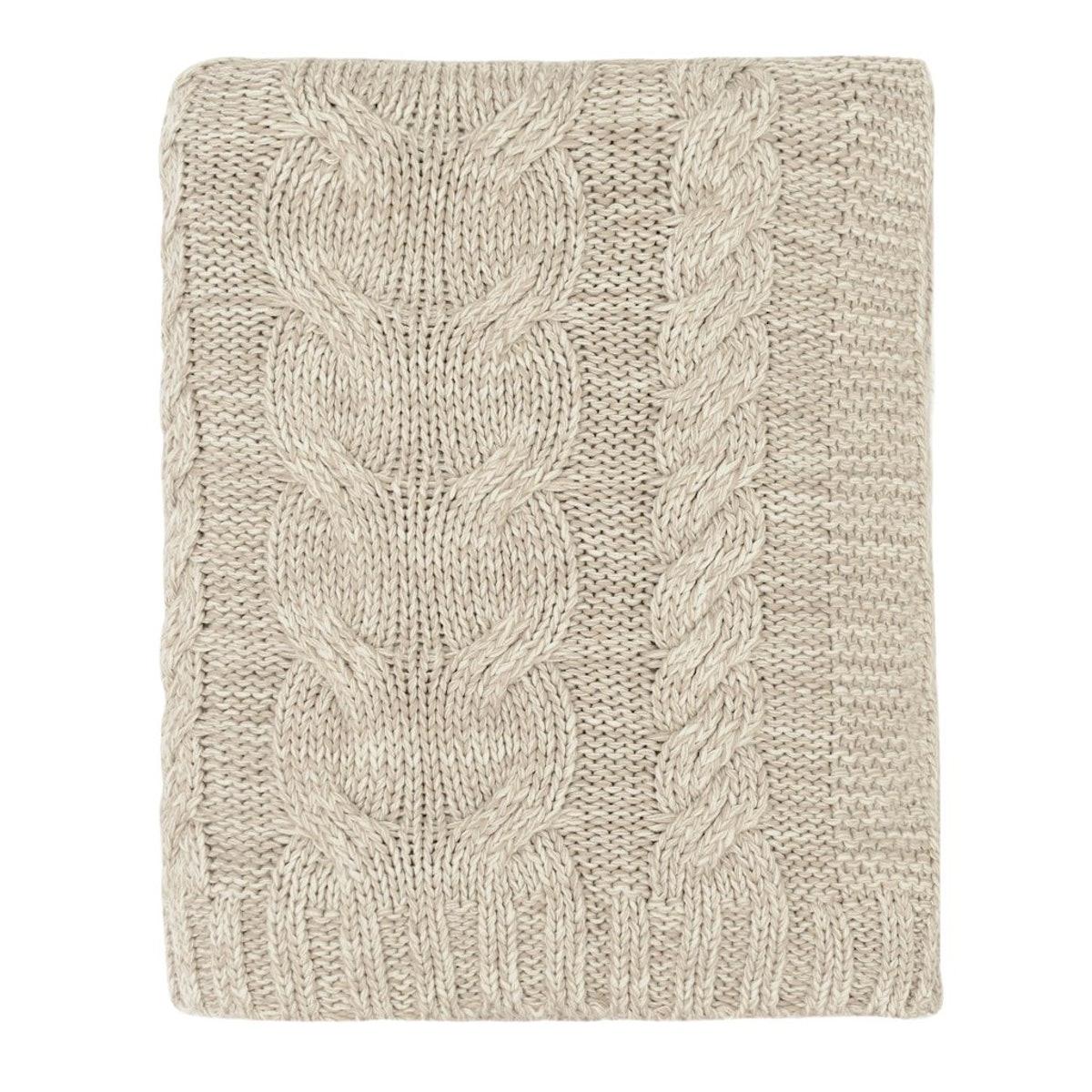 Stone Chunky Braid Cotton Throw
