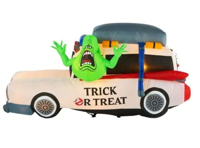 An inflatable Ecto 1 with Slimer is one Halloween product to buy now before they sell out.