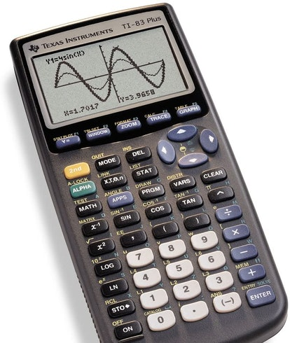 TI-81 Graphing Calculator out of box promo image.Back to school. Calculator. Gadgets.