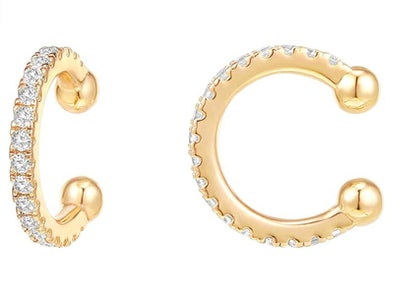 PAVOI 14K Gold Plated Round Huggie Ear Cuff