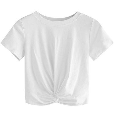 MakeMeChic Twist Front Crop Top T-Shirt