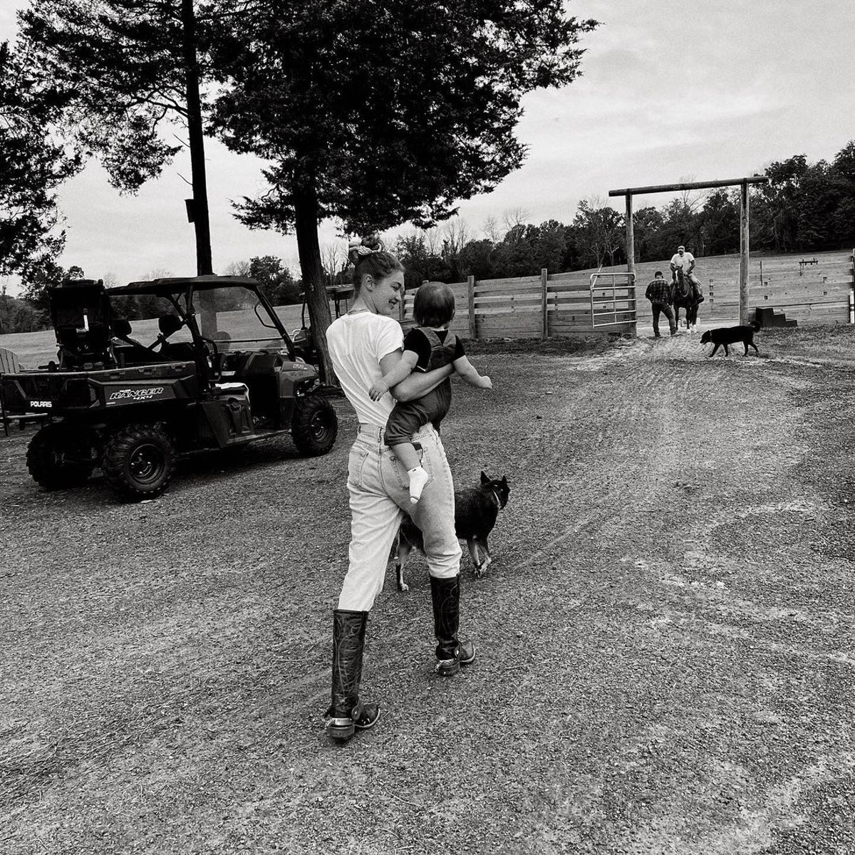 Gigi Hadid and her daughter Khai at the family farm