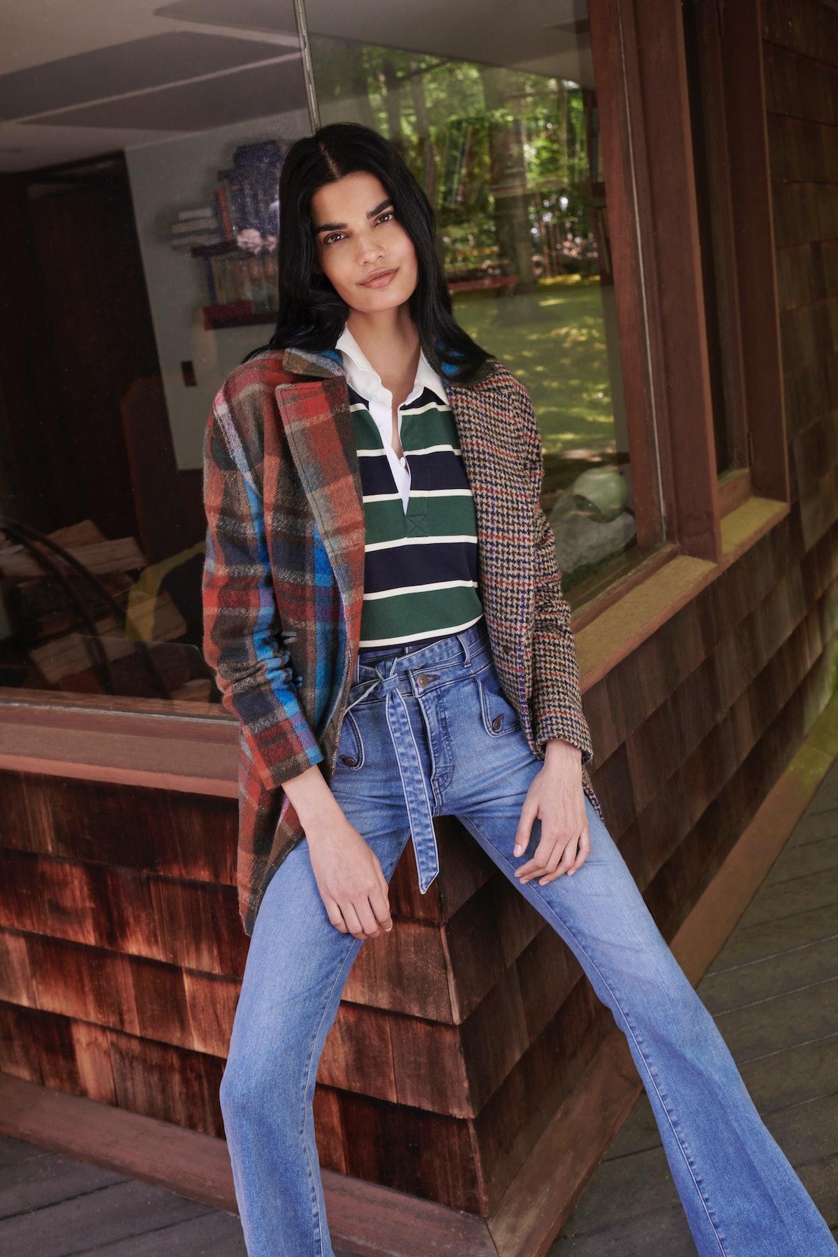Model wears Veronica Beard's India Patchwork Dickey Coat