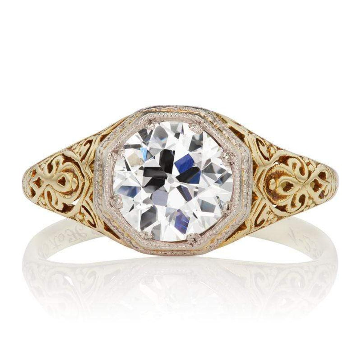 Parker old European cut diamond engagement ring from Victor Barboné.