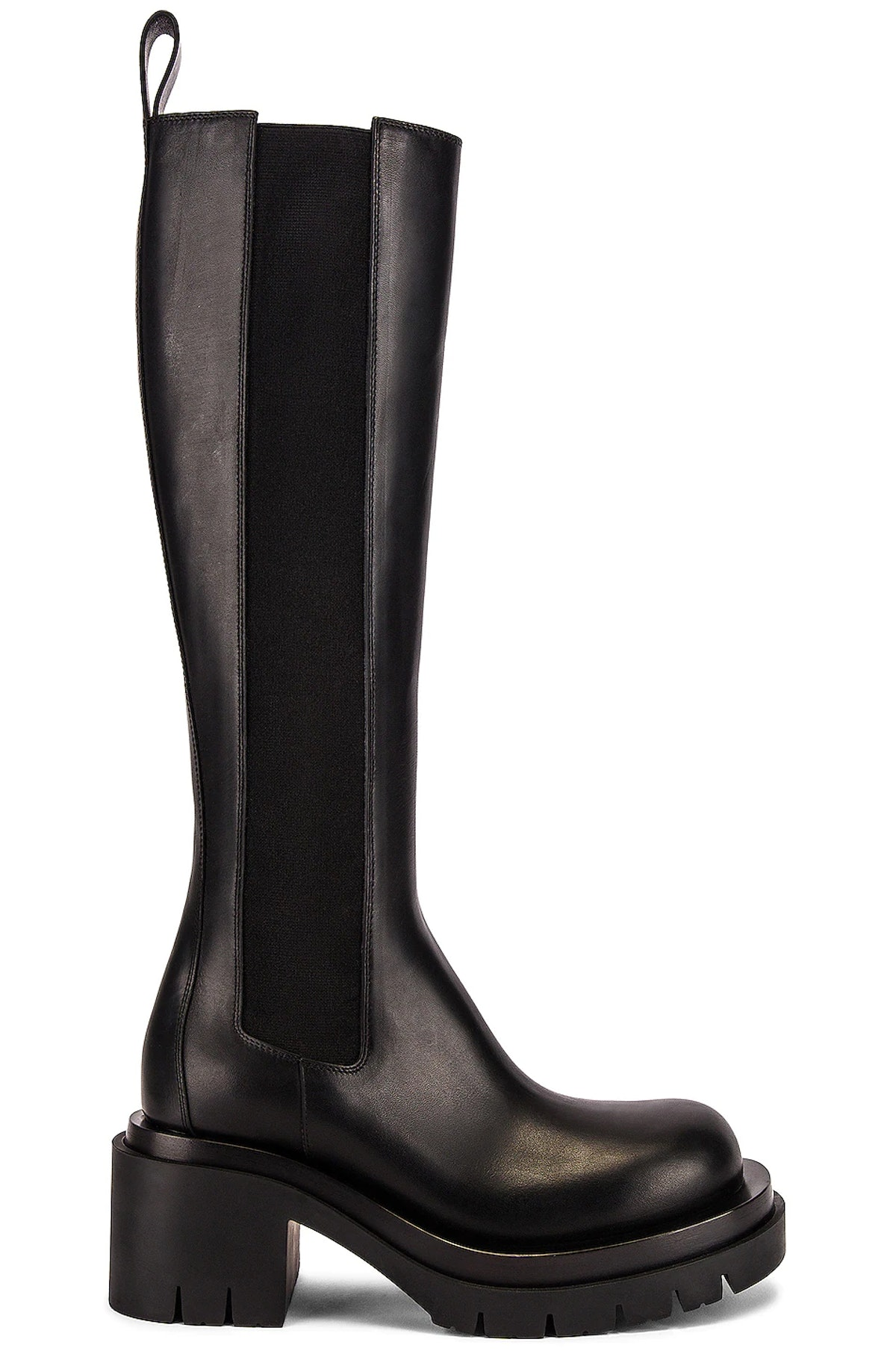 Brown lug high top Chelsea boots from Bottega Veneta, available to shop via Kendall Jenner's edit on...