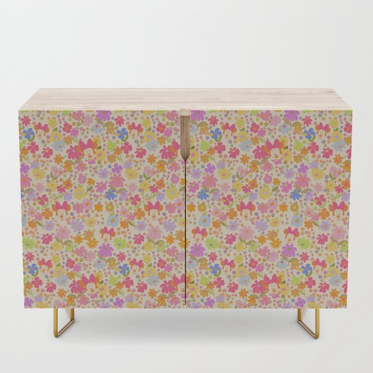 This Society6 x Disney Minnie Mouse Collection credenza has hidden Minnie Mouses on it.