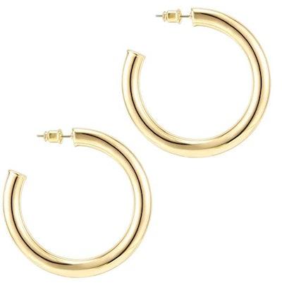 PAVOI 14-Karat Gold-Plated Chunky Open Hoops