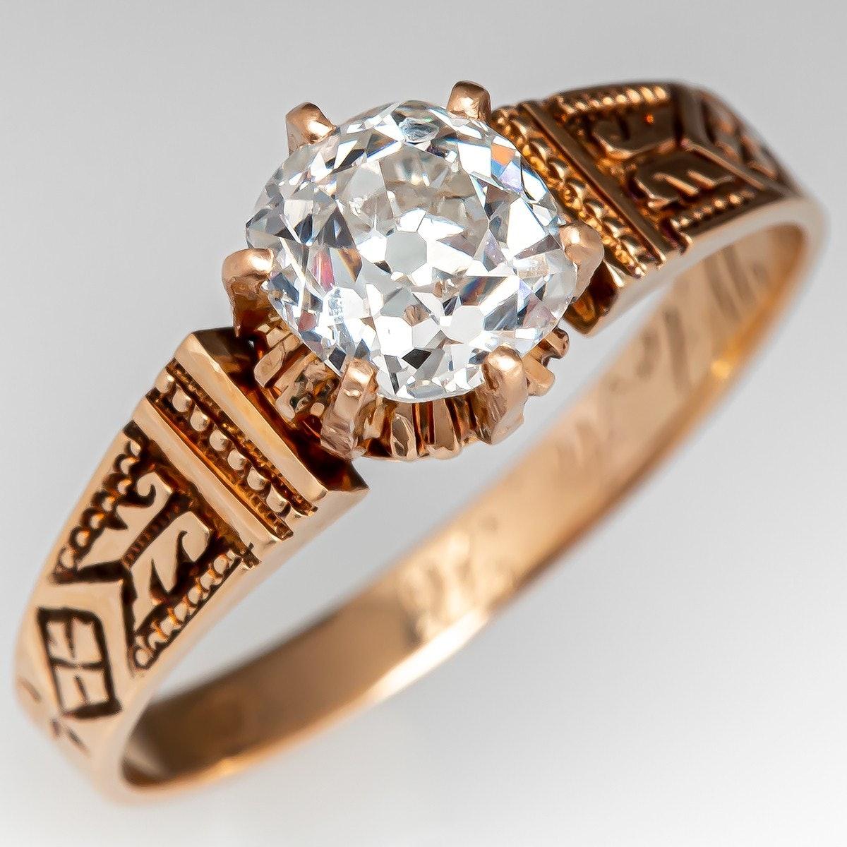 1 Carat Old Mine Cut Diamond Victorian Engagement Ring from EraGem.