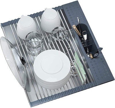 Fixparts Roll Up Dish Drying Rack with Utensil Holder