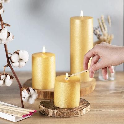 CANDWAX Unscented Pillar Candles (3-Pack)