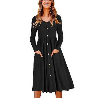 OUGES Button Down Skater Dress with Pockets