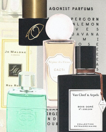 various bottles of unisex perfumes, presented in a collage
