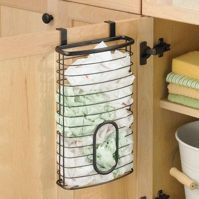 mDesign Metal Over Cabinet Door Plastic Bag Storage