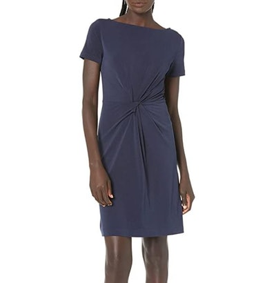 Lark & Ro Short Sleeve Center Twist Dress