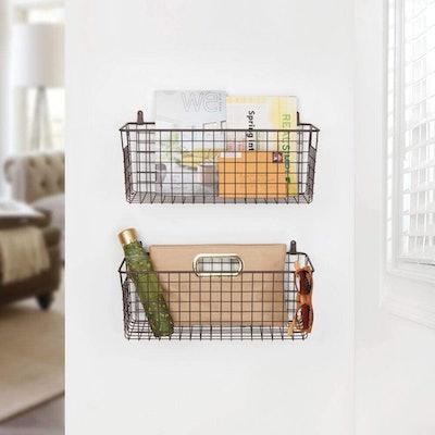 mDesign Metal Wall Storage Basket (Set of 2)