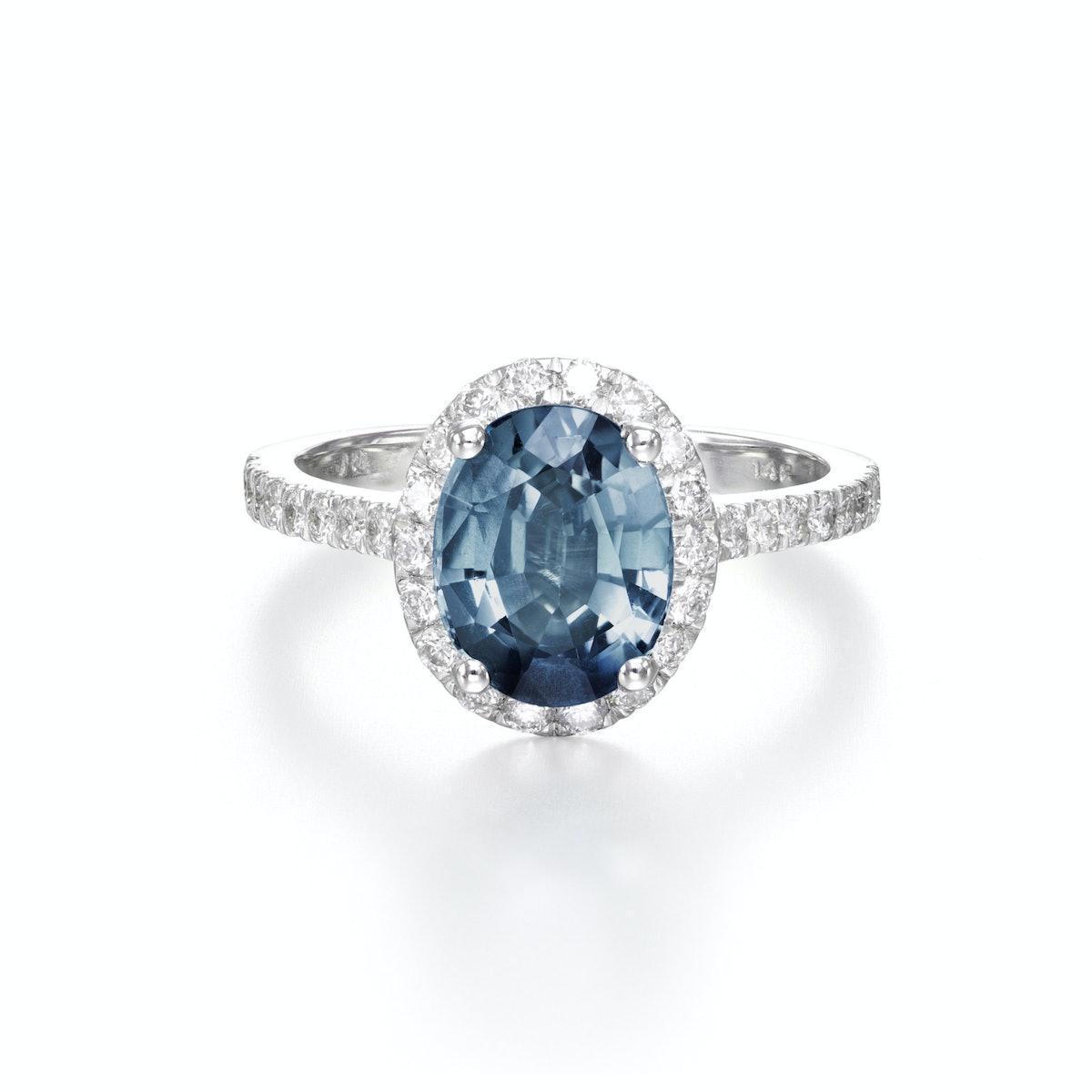 Sea Blue Sapphire and Diamond engagement ring from Sheryl Jones.