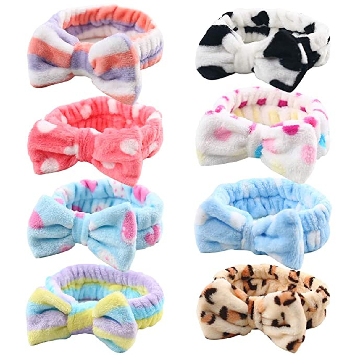 3 otters Plush Bow Hair Bands (8-Piece)