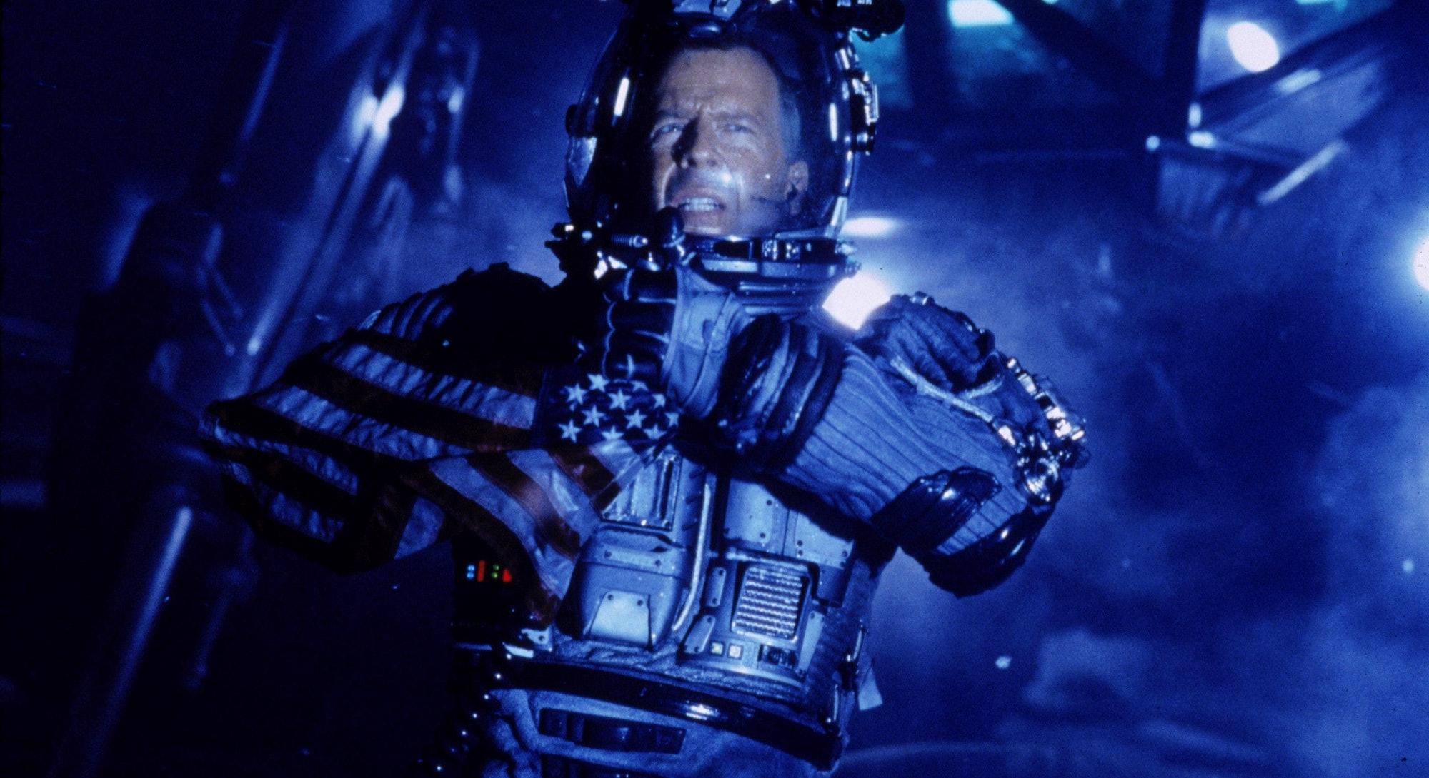 screenshot of Bruce Willis in spacesuit from Armageddon