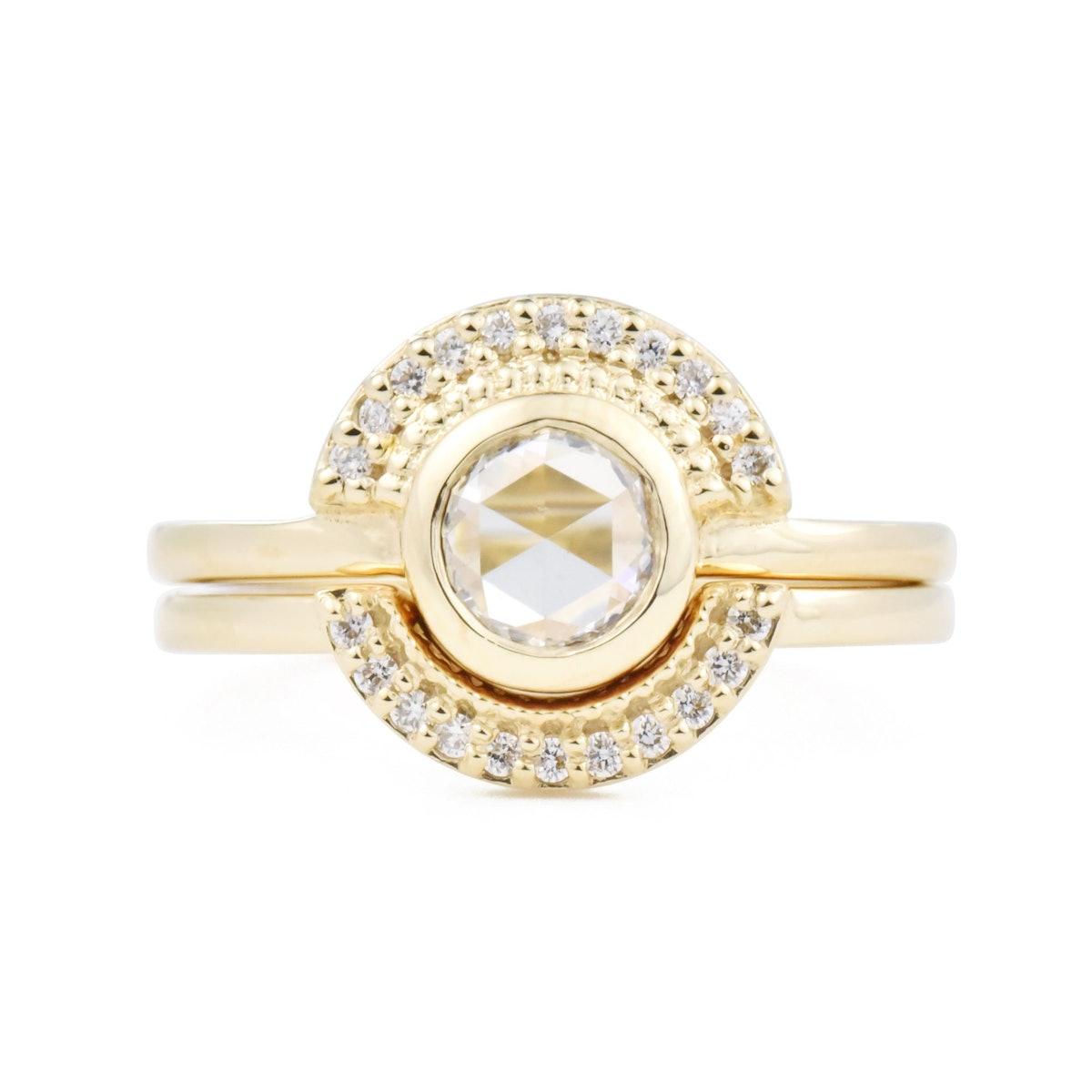 Selena Rose Cut Round Diamond Semi-Halo Ring Set from Valerie Madison.