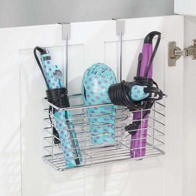 mDesign Metal Over Cabinet Door Hair Care & Styling Tool Organizer