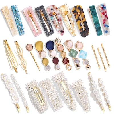 Magicsky Hingwah Pearls and Acrylic Resin Hair Clips (28-Pieces)