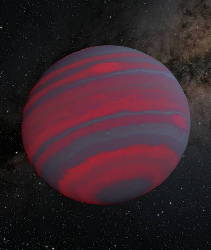 An illustration of a brown dwarf, with gray and pink colors