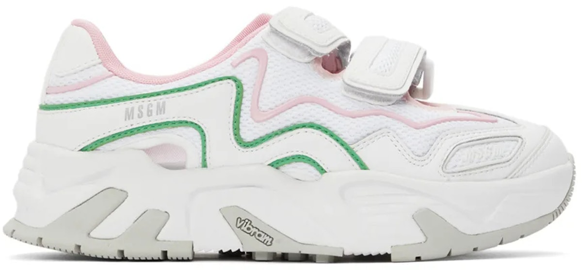 MSGM White Velcro Sneakers