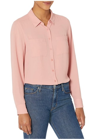 Lark & Ro Georgette Long Sleeve Button Up Woven Top