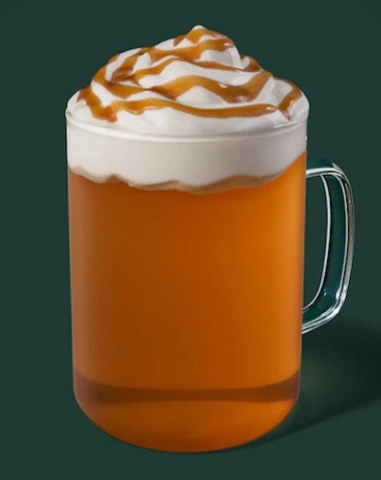 Image of a hot mug of Caramel Apple Spice drink from Starbucks.