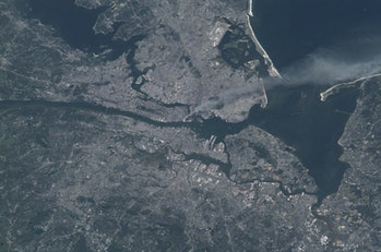 9/11 as seen from the ISS.