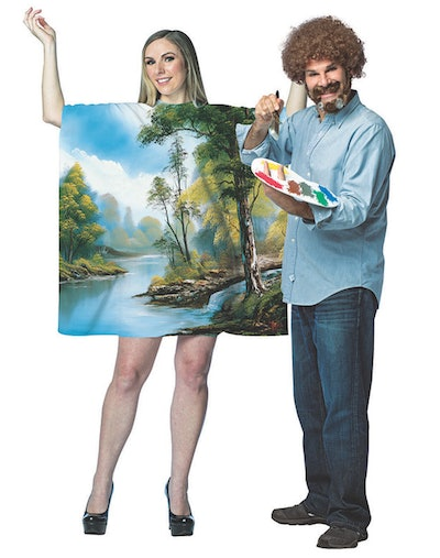 Adult Bob Ross With Art Dress Couple Costumes