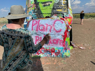 Plan C Pills' abortion rights roadtrip stopped at Cadillac Ranch in Amarillo, Texas