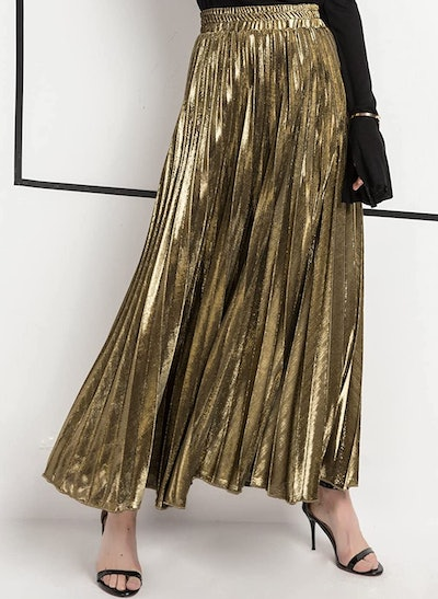 CHARTOU Shimmer Accordion Pleated Maxi Skirt