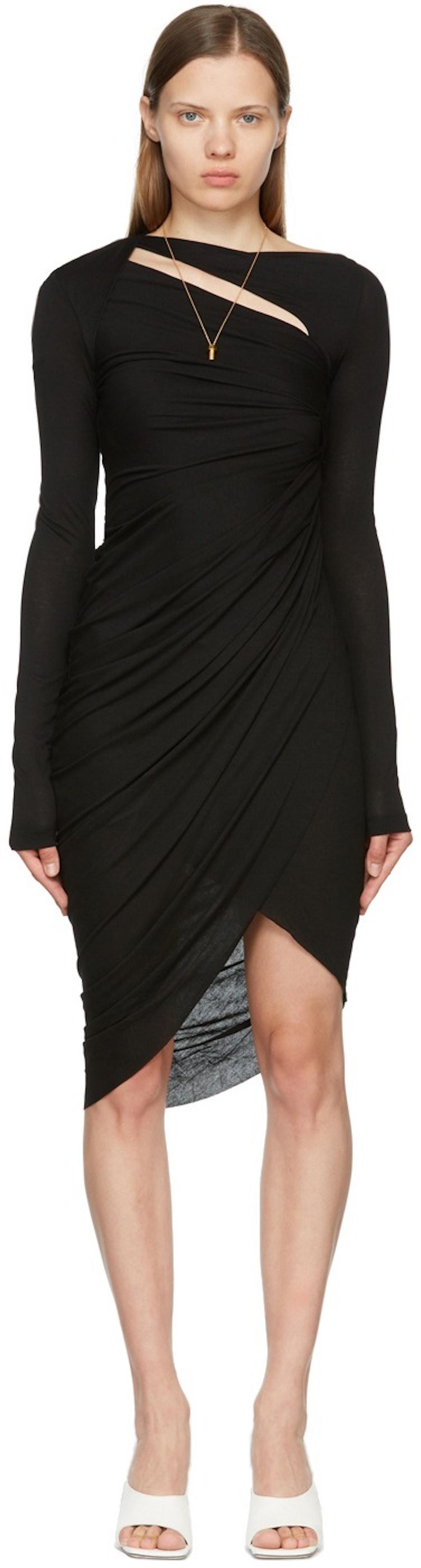 Helmut Lang Black Ruched Long Sleeve Dress