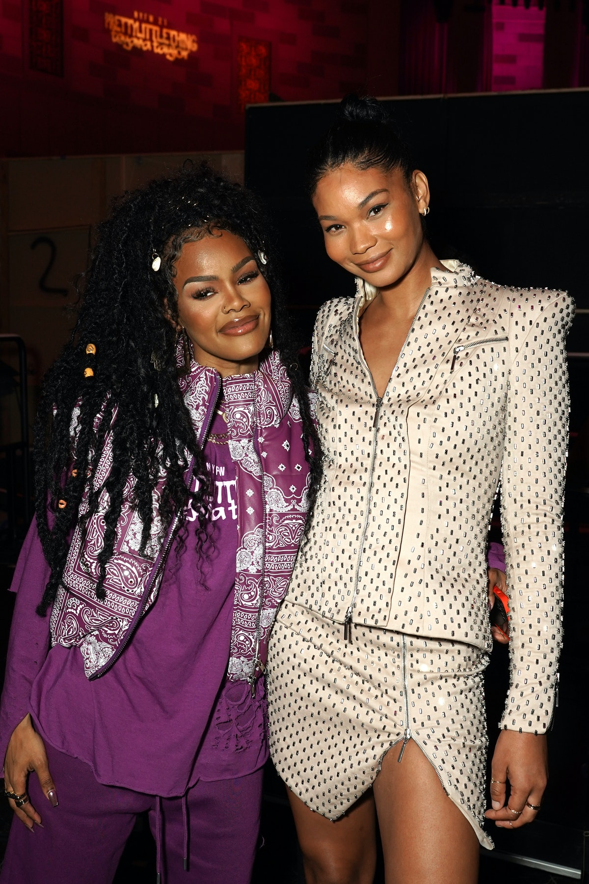 Teyana Taylor and Chanel Iman attend PrettyLittleThing: Teyana Taylor Collection II New York Fashion...