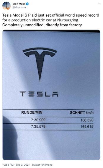 Tesla's record-breaking lap time.