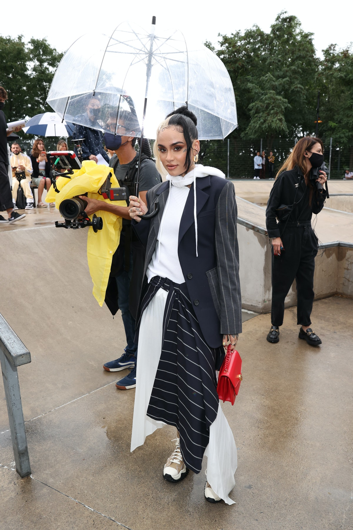 Kehlani attends the front row for Monse Resort 22 during NYFW: The Shows on September 09, 2021 in Ne...