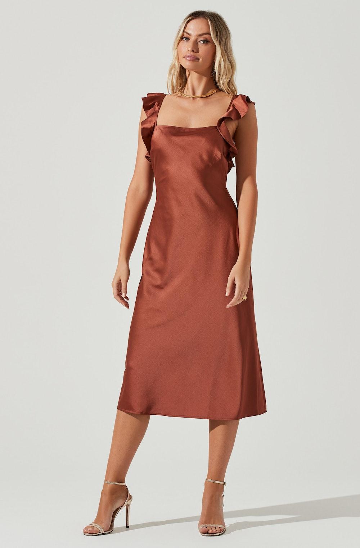 Rina Ruffle Strap Midi Dress