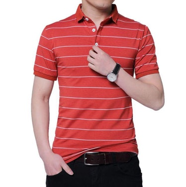 West Louis Brand Red Summer Striped Polo Shirt