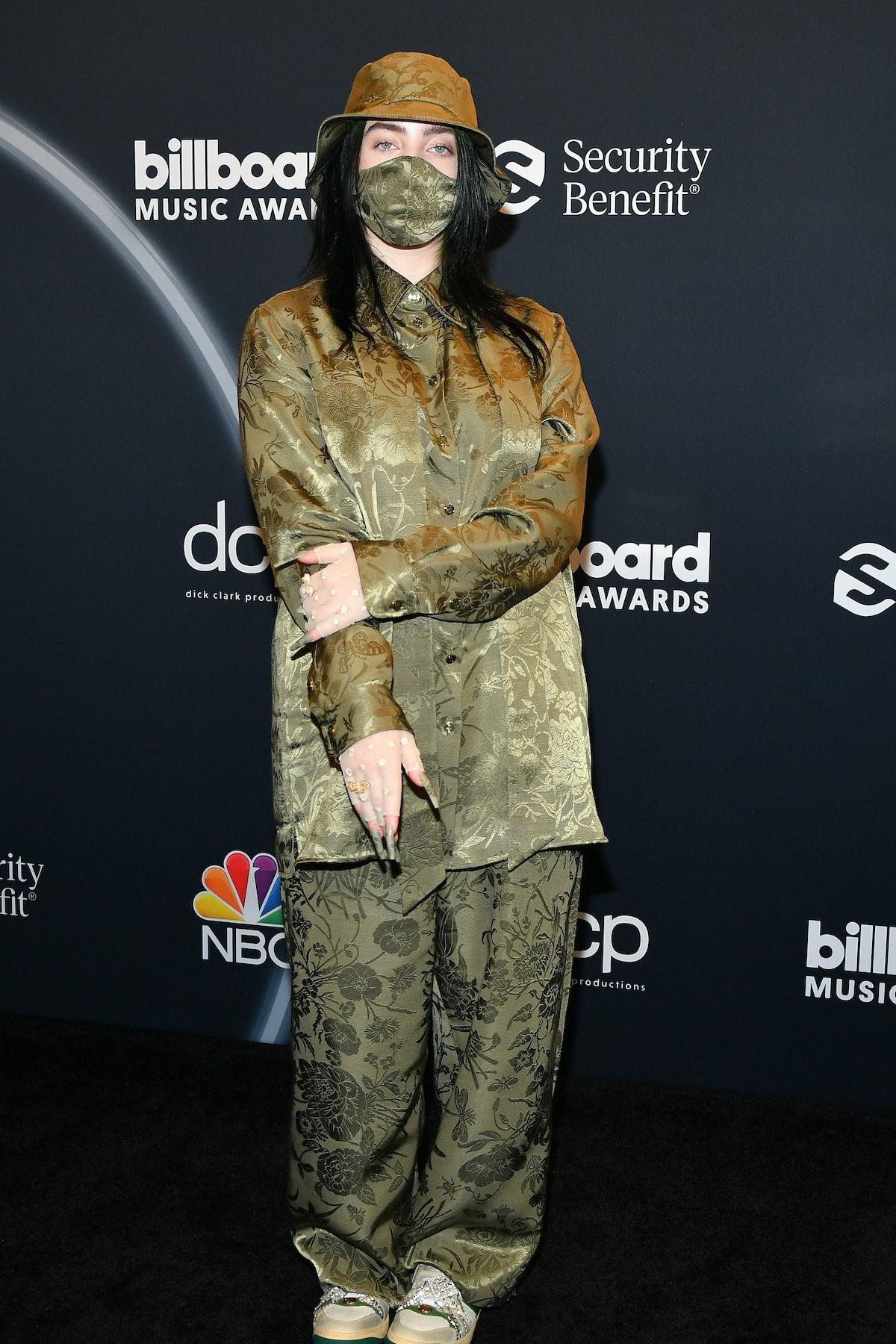 Billie Eilish poses backstage at the 2020 Billboard Music Awards, broadcast on October 14, 2020 at t...