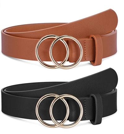 SANSTHS Faux Leather Belt with Double O-Ring Buckle (2-Pack)