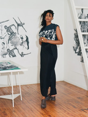 Kandis Williams, in her New York studio with works in progress, will use choreography, performance, ...