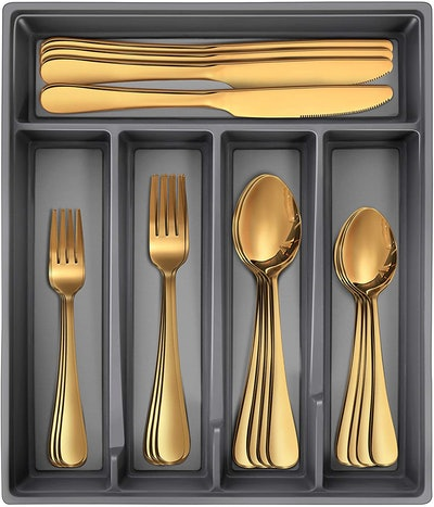 Gold Silverware Set with Tray (20-Pieces)