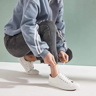 hash bubbie White PU Low Top Tennis Shoes