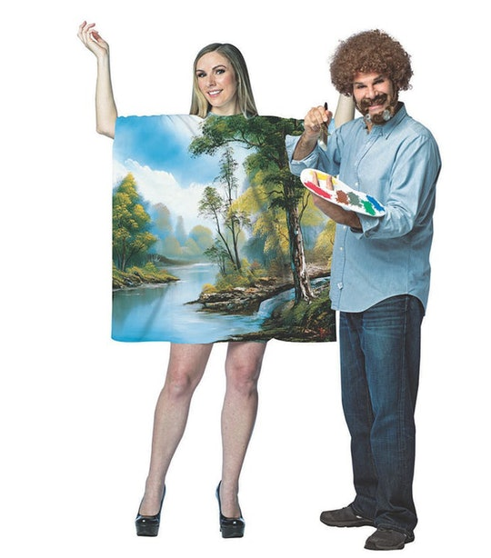 Bob Ross painting couples halloween costumes