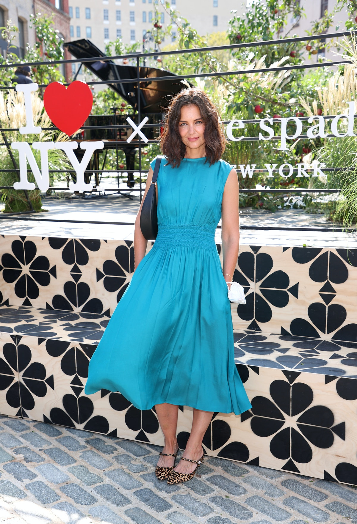 Actress Katie Holmes is seen during the Kate Spade New York Popup Installation VIP Opening Party for...