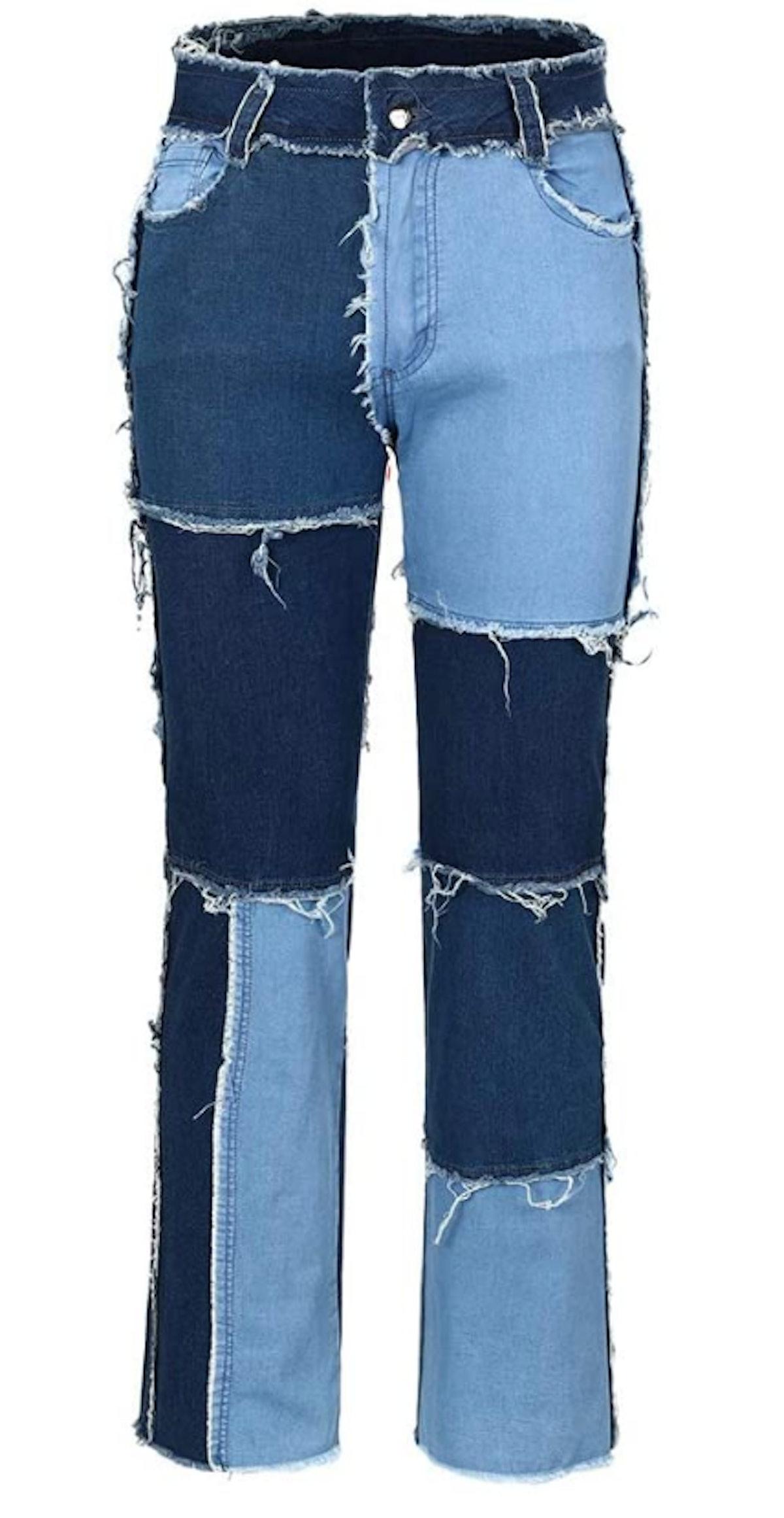 THUNDER STAR's patchwork straight leg jeans.